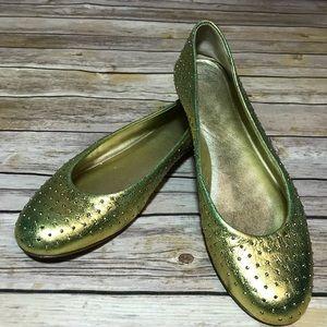 giuseppe zanotti chartruese gold ballet flats